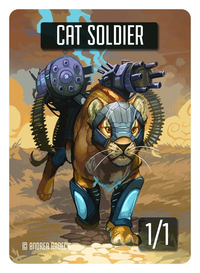 Cat Soldier Token (1/1) by Andrea Radeck