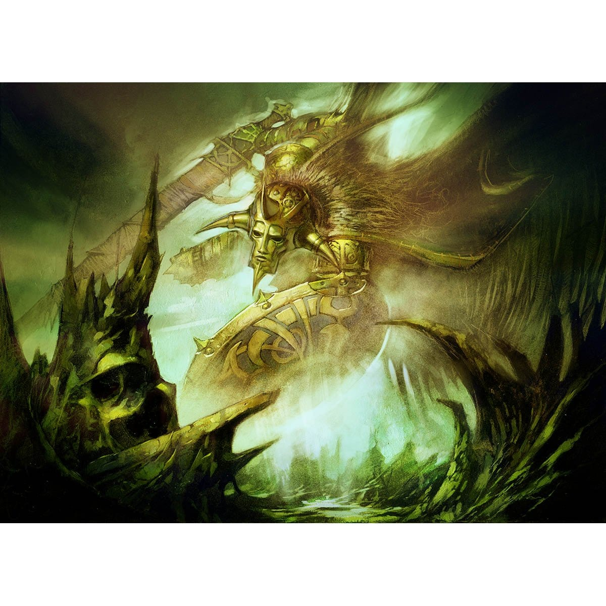 Celestial Crusader Print - Print - Original Magic Art - Accessories for Magic the Gathering and other card games