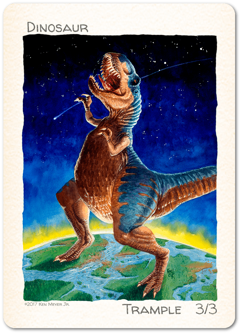 Dinosaur Token (3/3) by Ken Meyer Jr. - Token - Original Magic Art - Accessories for Magic the Gathering and other card games