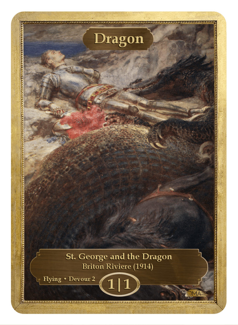 Dragon Token (1/1 - Flying, Devour 2) by Briton Riviere - Token - Original Magic Art - Accessories for Magic the Gathering and other card games