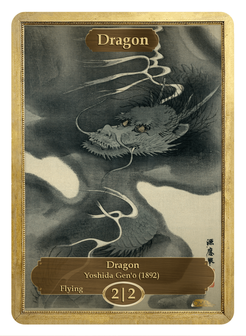 Dragon Token (2/2 - Flying) by Yoshida Gen'o - Token - Original Magic Art - Accessories for Magic the Gathering and other card games