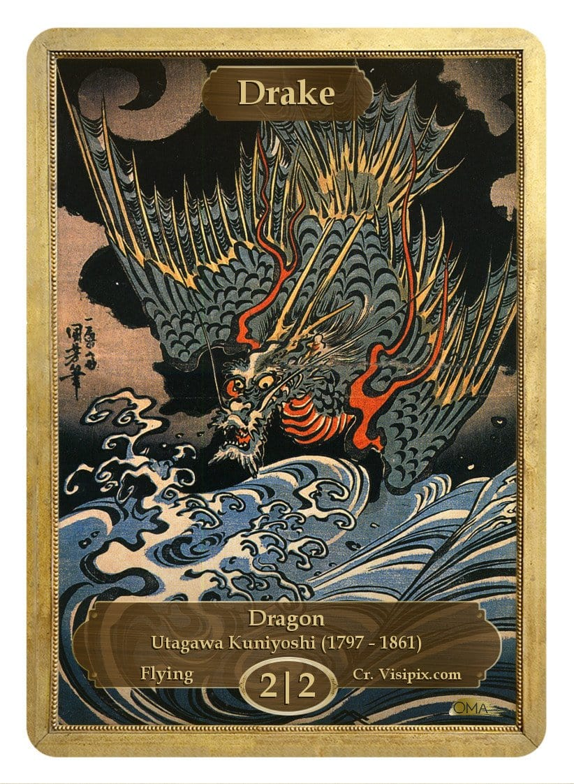 Drake Token (2/2) by Utagawa Kuniyoshi - Token - Original Magic Art - Accessories for Magic the Gathering and other card games
