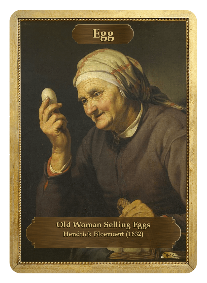 Egg Counter by Hendrick Bloemaert - Token - Original Magic Art - Accessories for Magic the Gathering and other card games