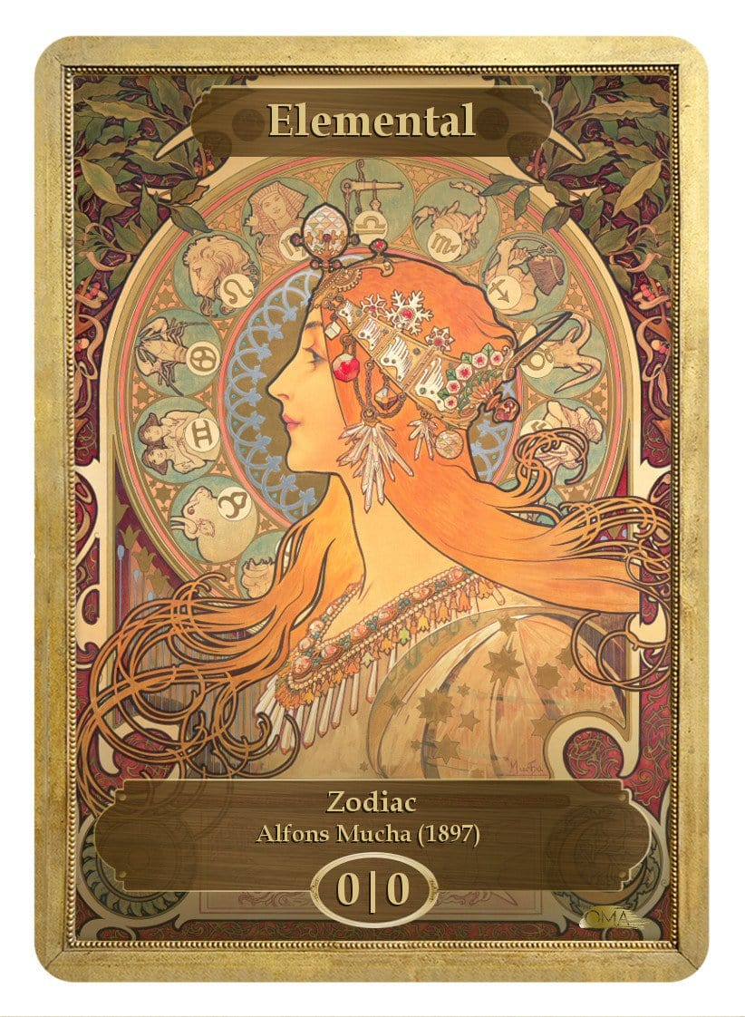 Elemental Token (0/0) by Alfons Mucha - Token - Original Magic Art - Accessories for Magic the Gathering and other card games