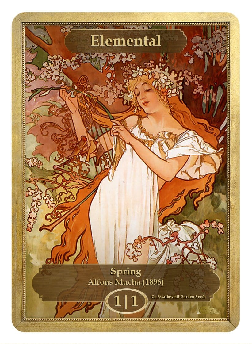 Elemental Token (1/1) by Alfons Mucha - Token - Original Magic Art - Accessories for Magic the Gathering and other card games