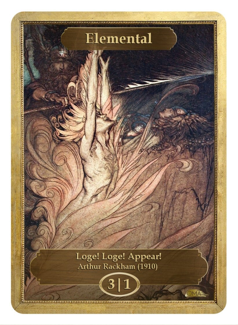Elemental Token (3/1) by Arthur Rackham - Token - Original Magic Art - Accessories for Magic the Gathering and other card games