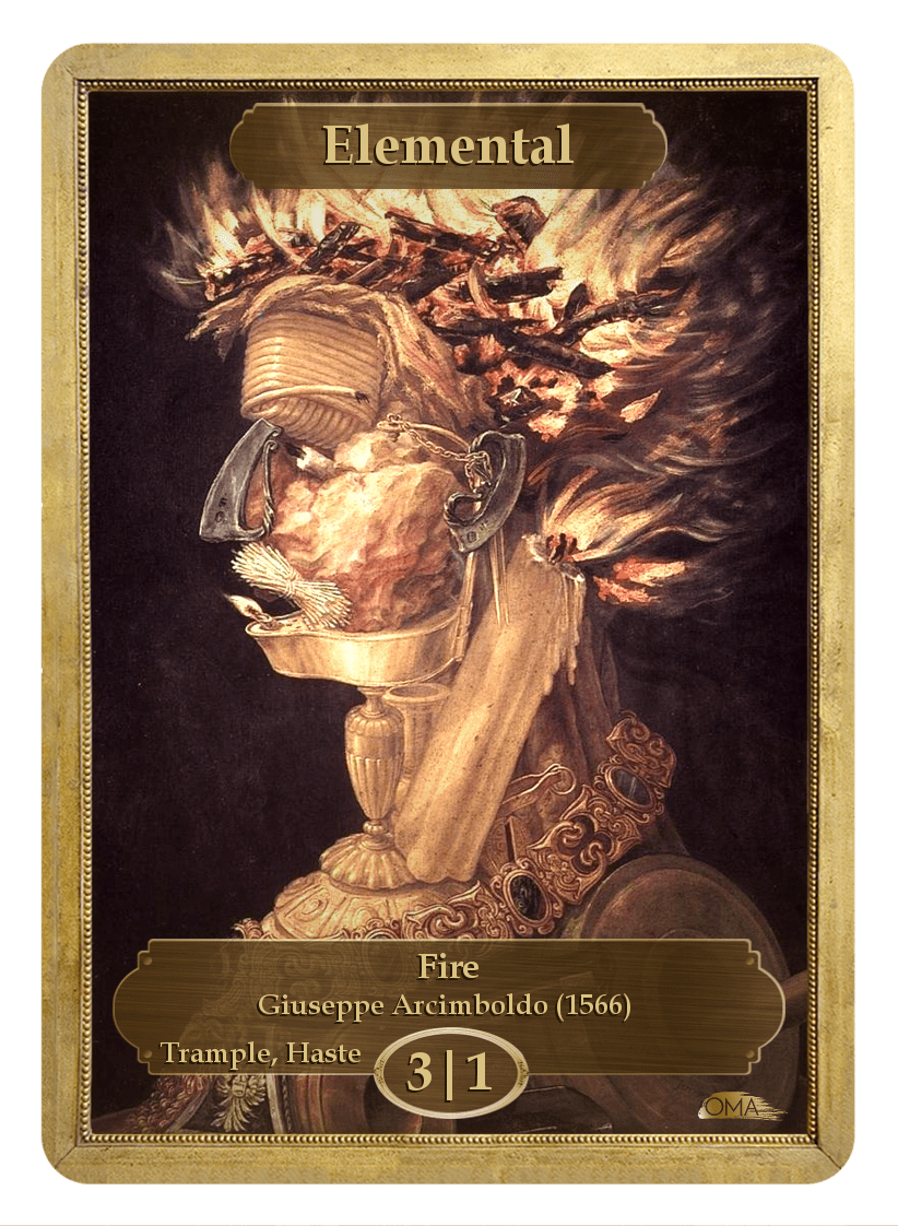 Elemental Token (3/1-T,H) by Giuseppe Arcimboldo - Token - Original Magic Art - Accessories for Magic the Gathering and other card games
