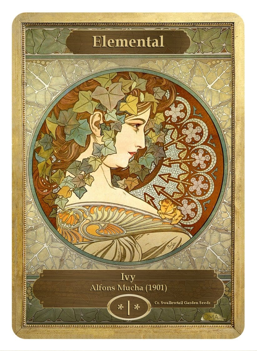 Elemental Token (*/*) by Alfons Mucha - Token - Original Magic Art - Accessories for Magic the Gathering and other card games