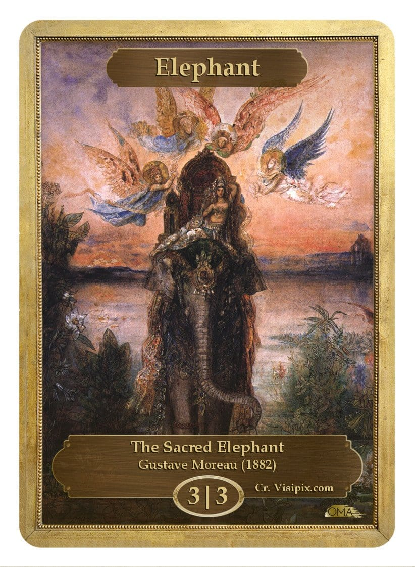 Elephant Token (3/3) by Gustave Moreau - Token - Original Magic Art - Accessories for Magic the Gathering and other card games