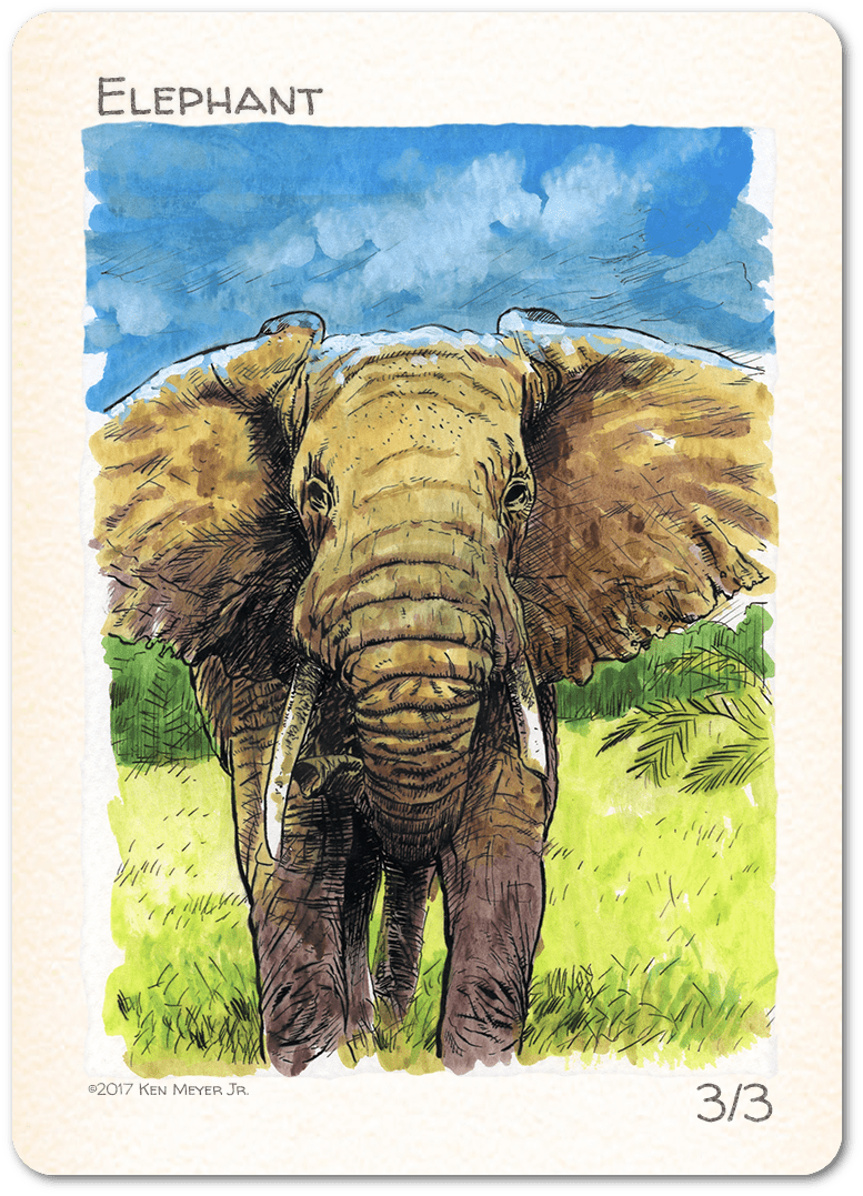 Elephant Token (3/3) by Ken Meyer Jr. - Token - Original Magic Art - Accessories for Magic the Gathering and other card games