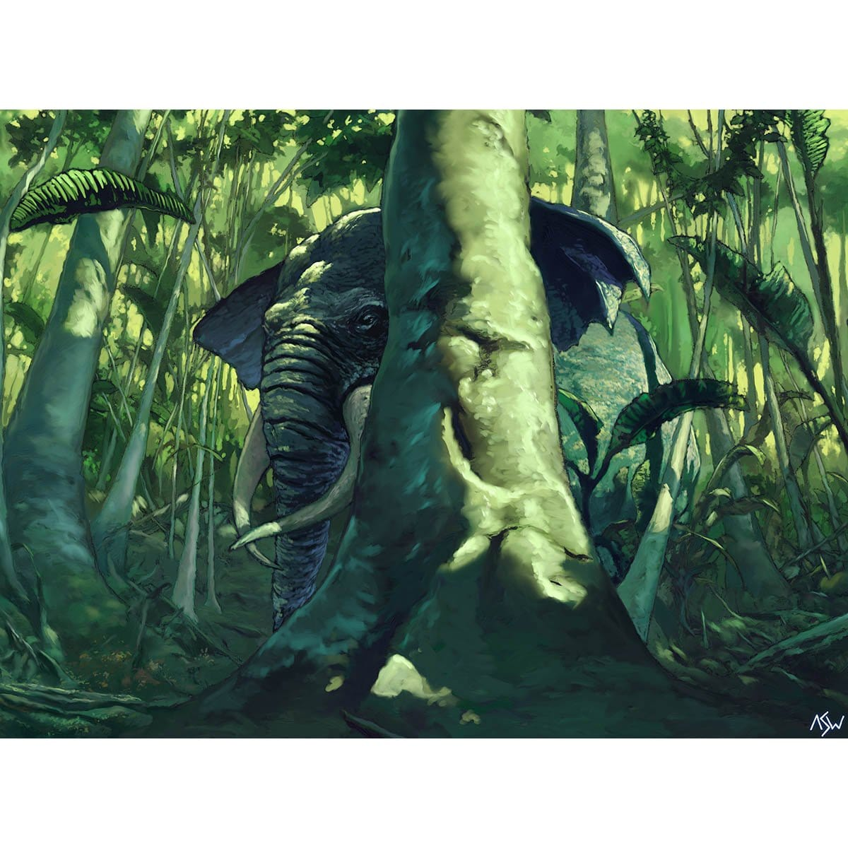 Elephant Ambush Print - Print - Original Magic Art - Accessories for Magic the Gathering and other card games