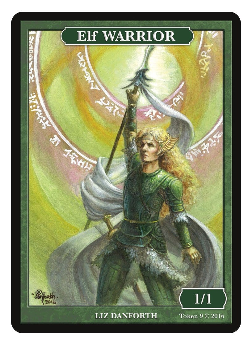 Elf Warrior Token (1/1) by Liz Danforth - Token - Original Magic Art - Accessories for Magic the Gathering and other card games