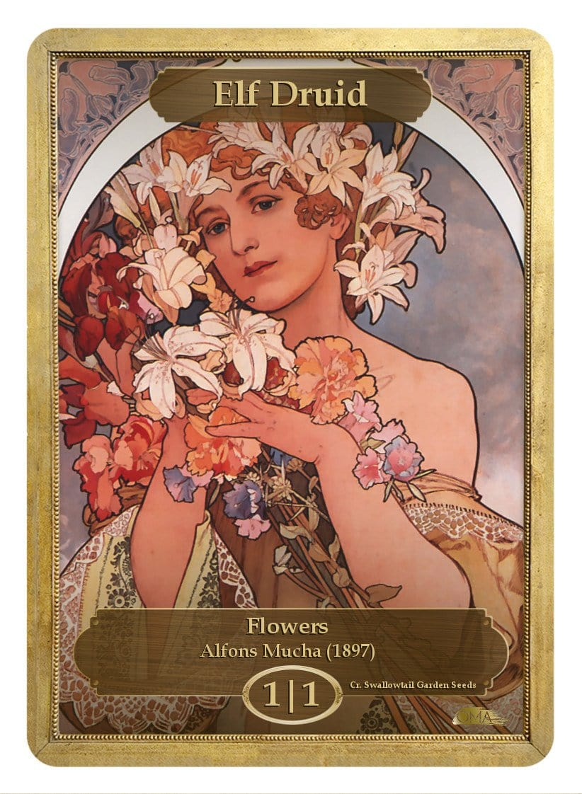 Elf Druid Token (1/1) by Alfons Mucha - Token - Original Magic Art - Accessories for Magic the Gathering and other card games