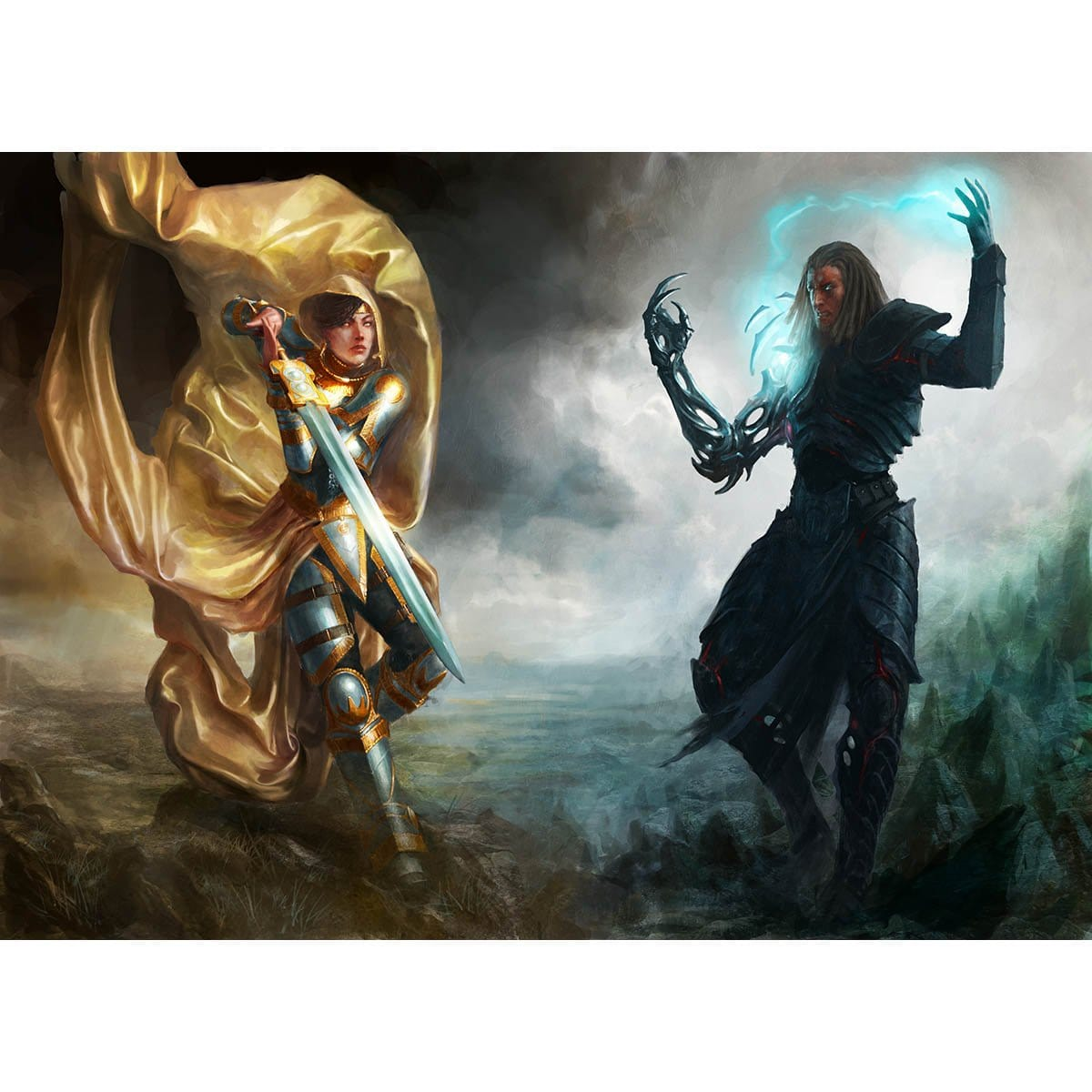 Elspeth vs. Tezzeret Print - Print - Original Magic Art - Accessories for Magic the Gathering and other card games