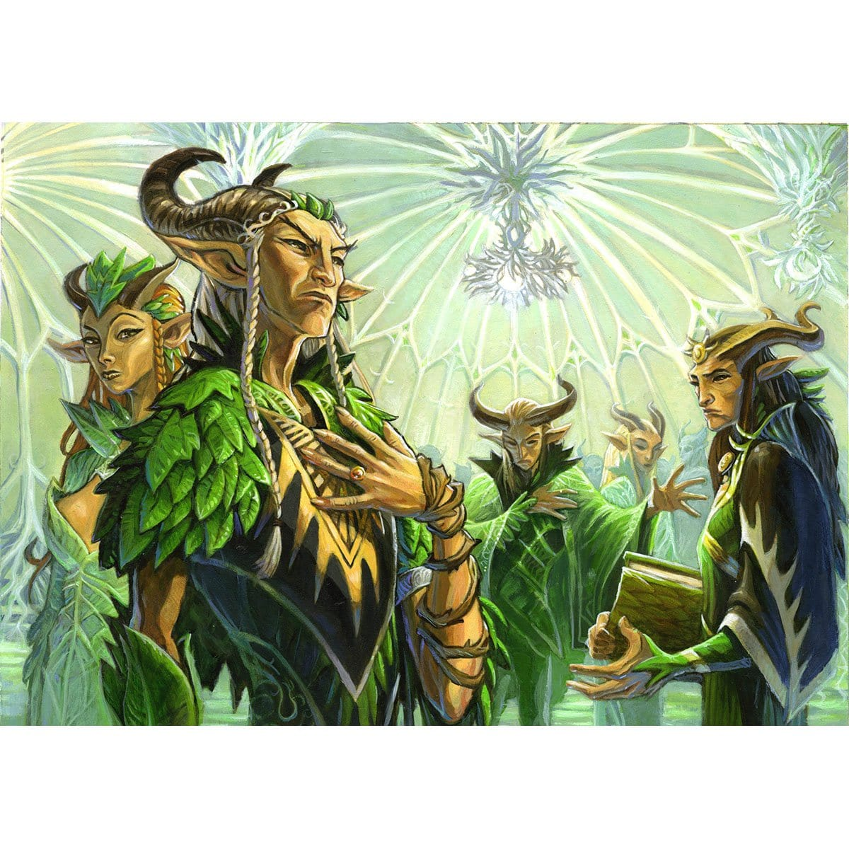 Elvish Promenade Print - Print - Original Magic Art - Accessories for Magic the Gathering and other card games