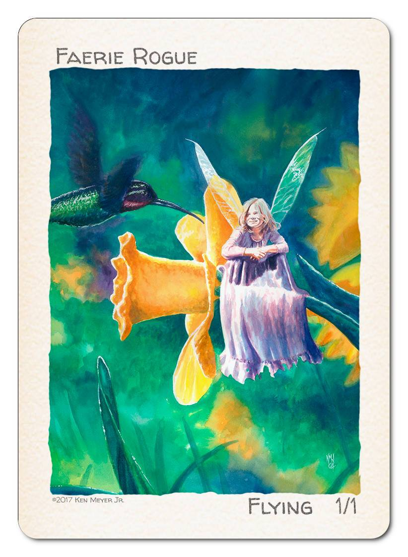 Faerie Rogue Token (1/1 - Flying) by Ken Meyer Jr. - Token - Original Magic Art - Accessories for Magic the Gathering and other card games