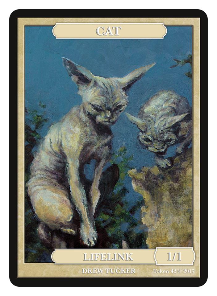 Cat Token (1/1 - Lifelink) by Drew Tucker - Token - Original Magic Art - Accessories for Magic the Gathering and other card games