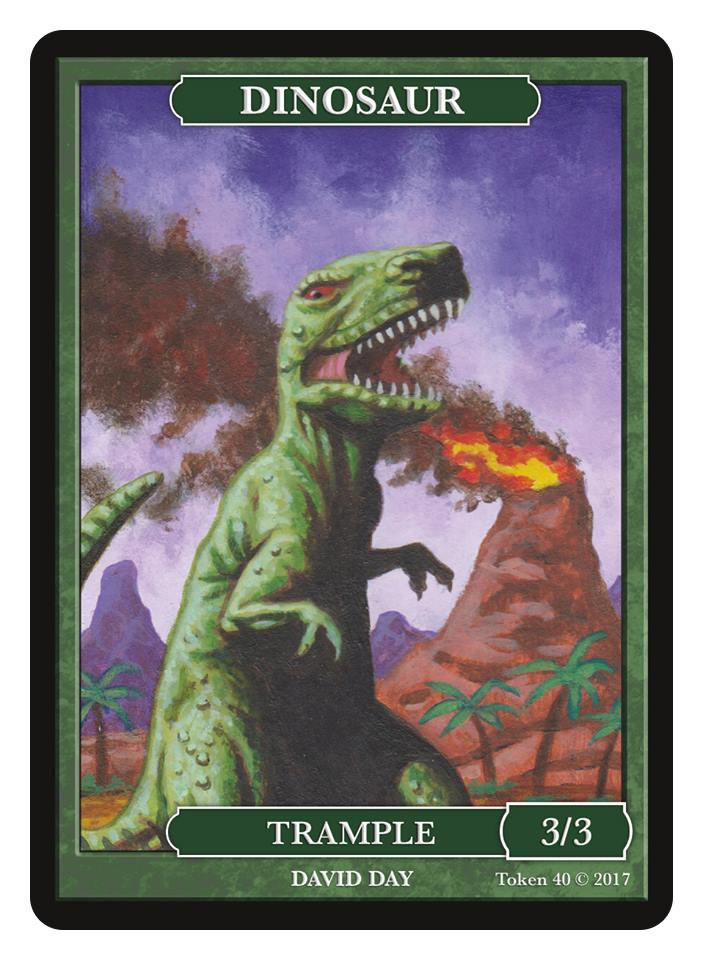 Dinosaur Token (3/3 - Trample) by David Day - Token - Original Magic Art - Accessories for Magic the Gathering and other card games