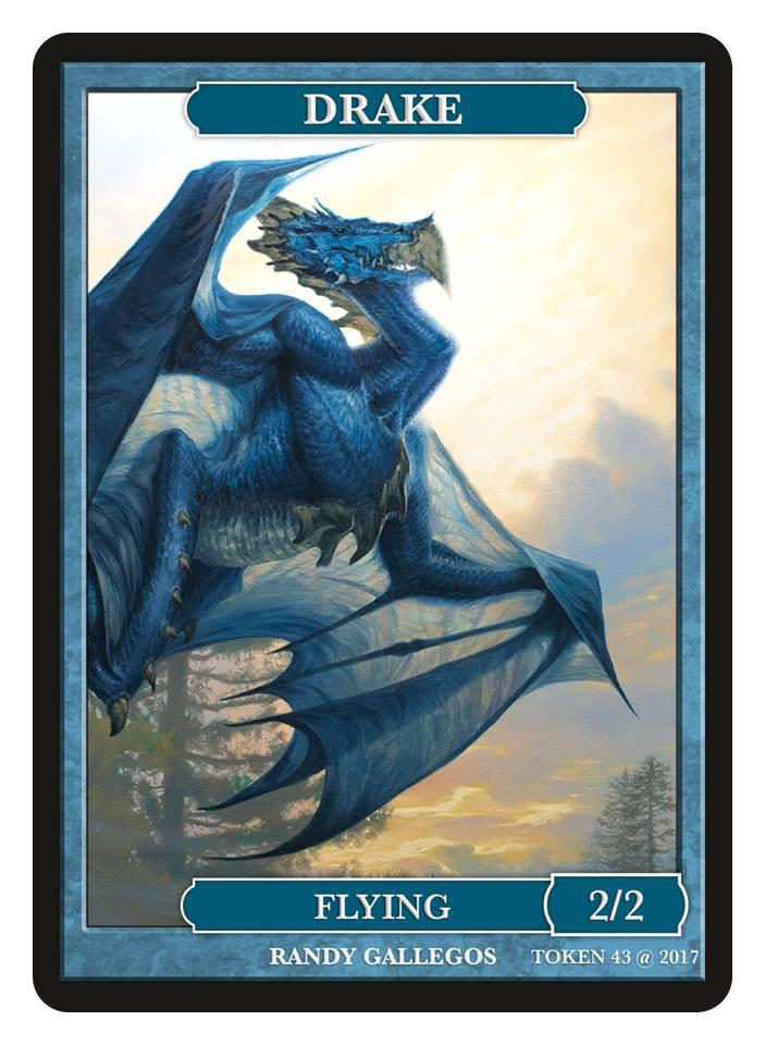 Drake Token (2/2 - Flying) by Randy Gallegos - Token - Original Magic Art - Accessories for Magic the Gathering and other card games