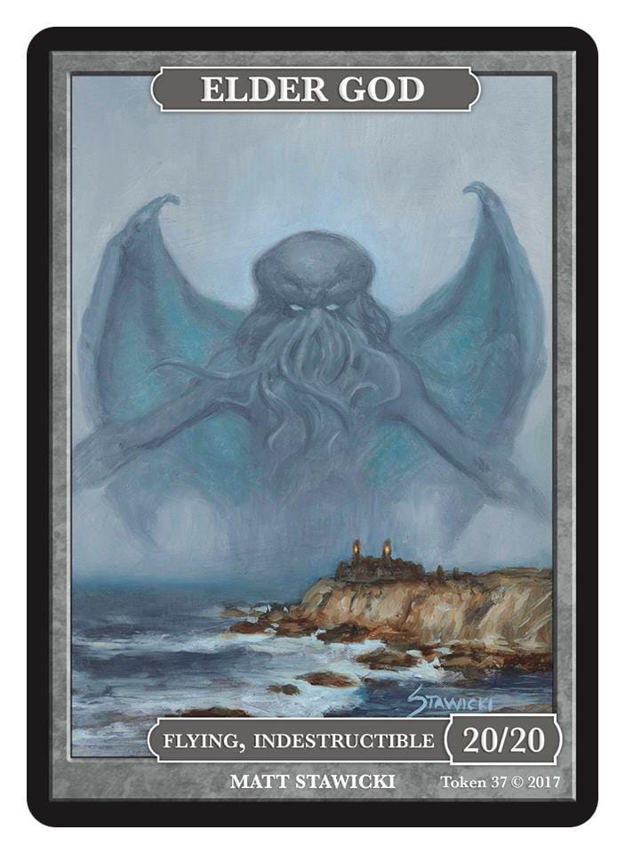 Elder God Token (20/20 - Flying, Indestructible) by Matt Stawicki - Token - Original Magic Art - Accessories for Magic the Gathering and other card games