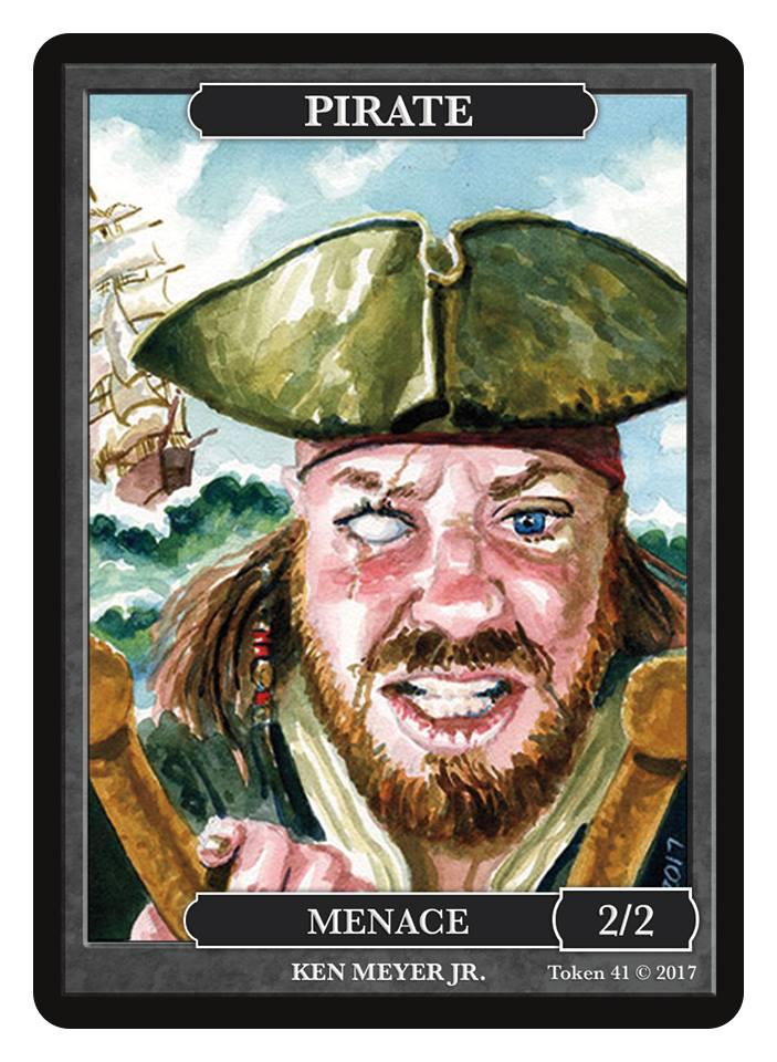 Pirate Token (2/2 - Menace) by Ken Meyer Jr. - Token - Original Magic Art - Accessories for Magic the Gathering and other card games