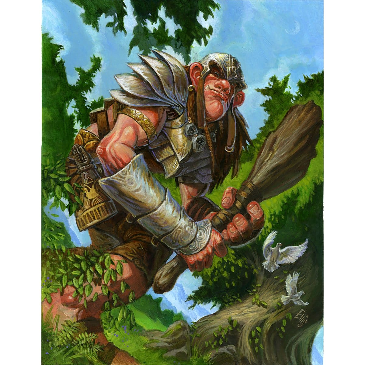 Giant Warrior Token Print - Print - Original Magic Art - Accessories for Magic the Gathering and other card games