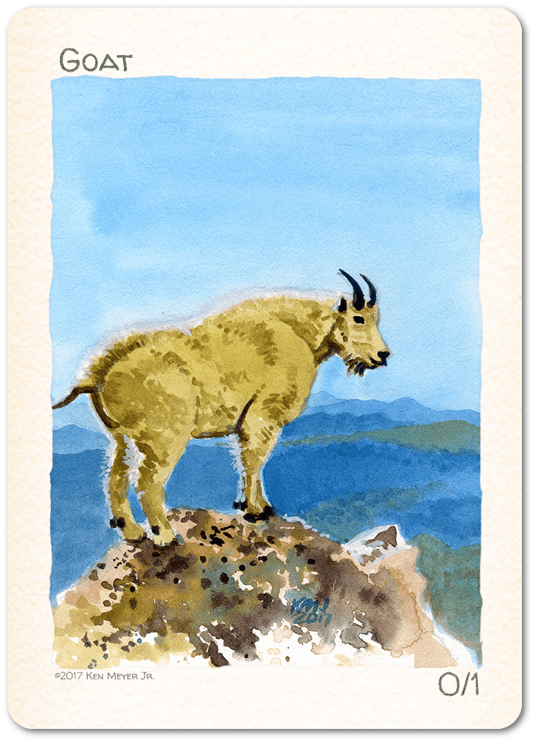 Goat Token (0/1) by Ken Meyer Jr. - Token - Original Magic Art - Accessories for Magic the Gathering and other card games
