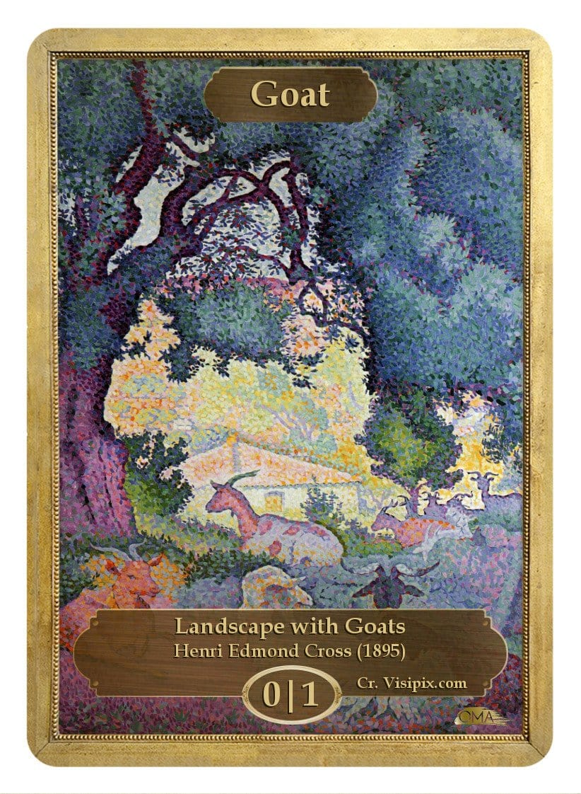Goat Token (0/1) by Henri Edmond Cross - Token - Original Magic Art - Accessories for Magic the Gathering and other card games