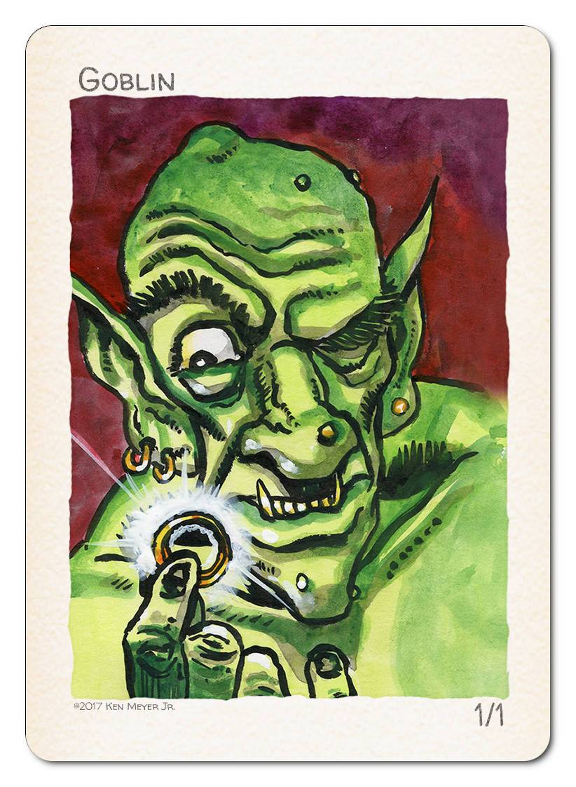 Goblin Token (1/1) by Ken Meyer Jr. - Token - Original Magic Art - Accessories for Magic the Gathering and other card games