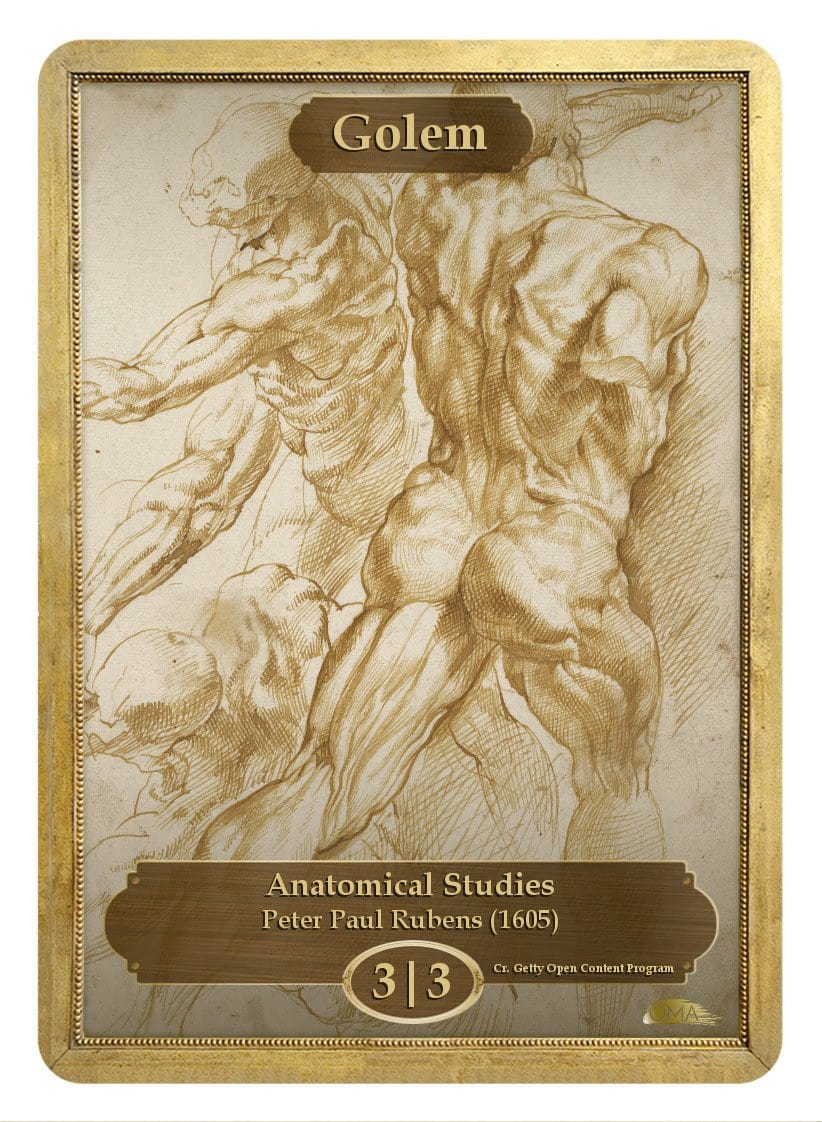 Golem Token (3/3) by Peter Paul Rubens - Token - Original Magic Art - Accessories for Magic the Gathering and other card games