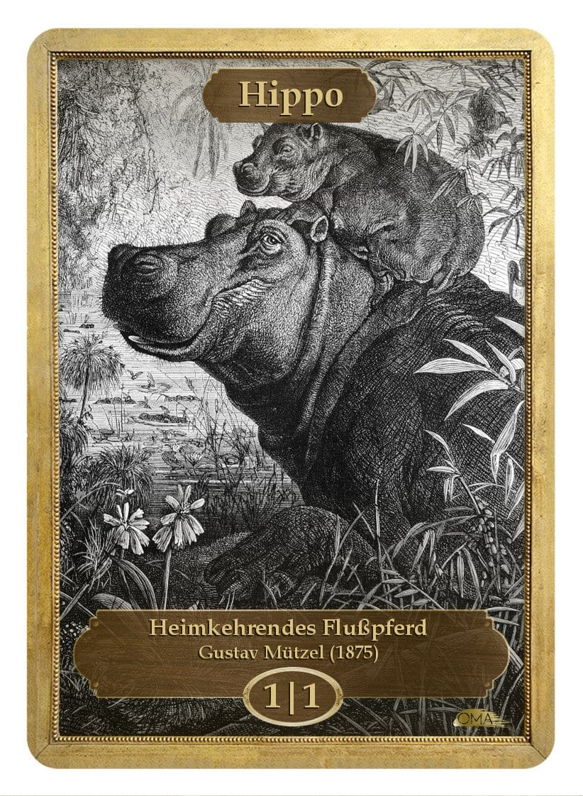 Hippo Token (1/1) by Gustav Mützel - Token - Original Magic Art - Accessories for Magic the Gathering and other card games