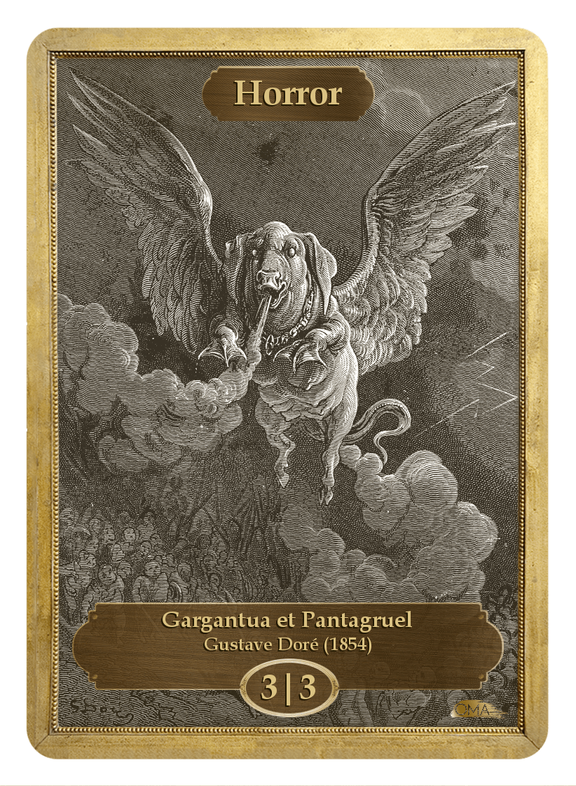 Horror Token (3/3) by Gustave Dore - Token - Original Magic Art - Accessories for Magic the Gathering and other card games
