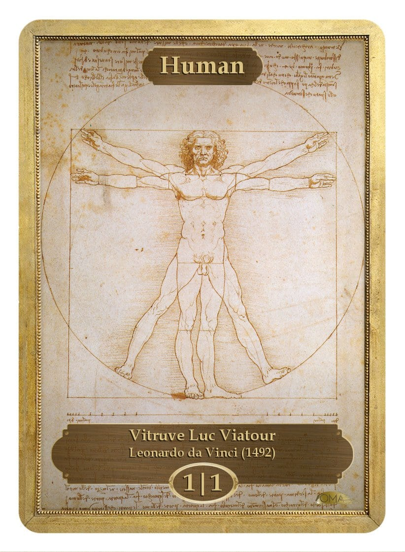 Human Token (1/1) by Leonardo da Vinci - Token - Original Magic Art - Accessories for Magic the Gathering and other card games