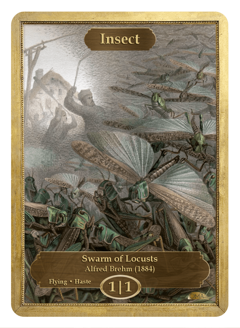Insect Token (1/1 - Flying, Haste) by Alfred Brehm - Token - Original Magic Art - Accessories for Magic the Gathering and other card games