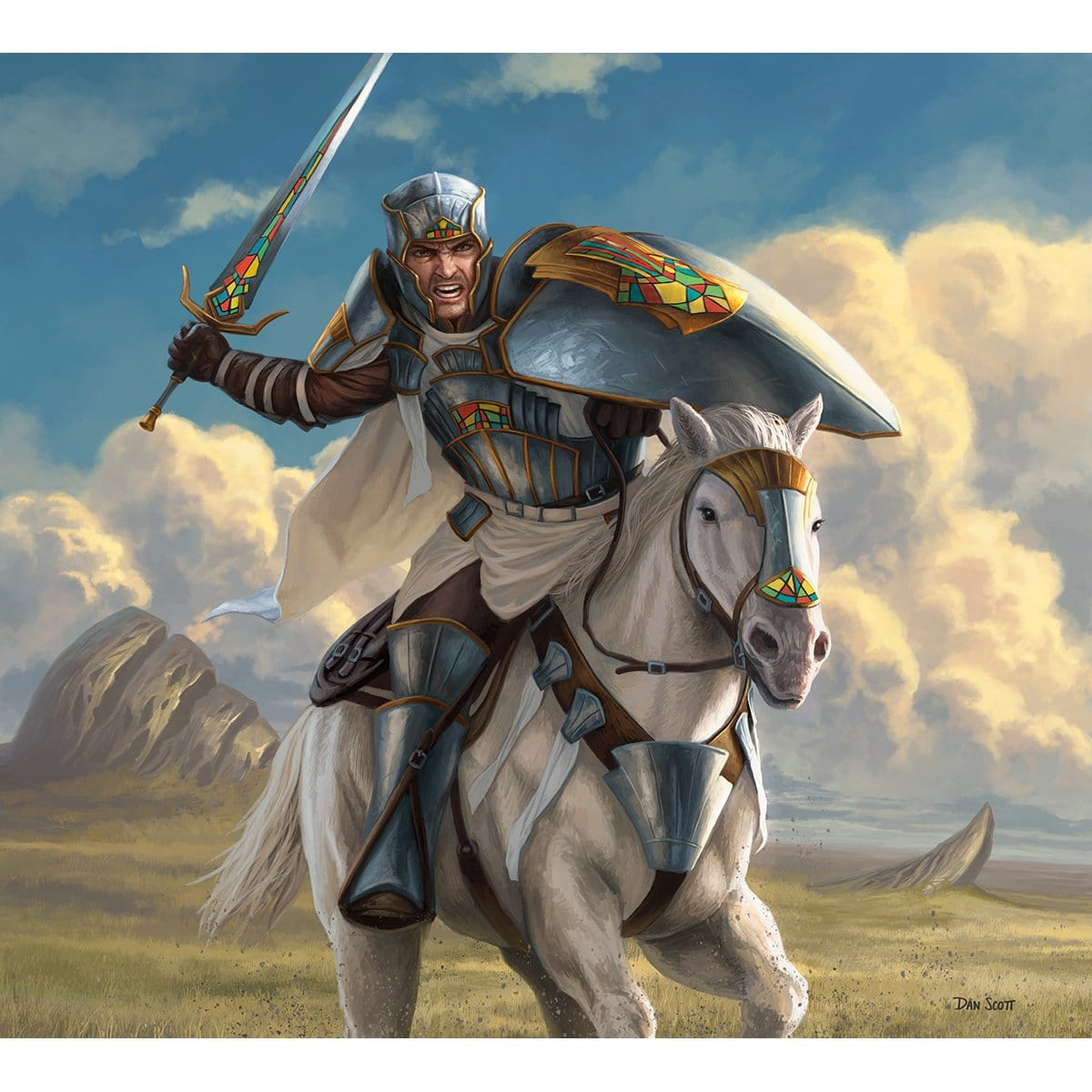 Knight Token Print - Print - Original Magic Art - Accessories for Magic the Gathering and other card games