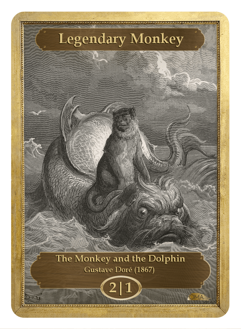 Legendary Monkey Token (2/1) by Gustave Doré - Token - Original Magic Art - Accessories for Magic the Gathering and other card games
