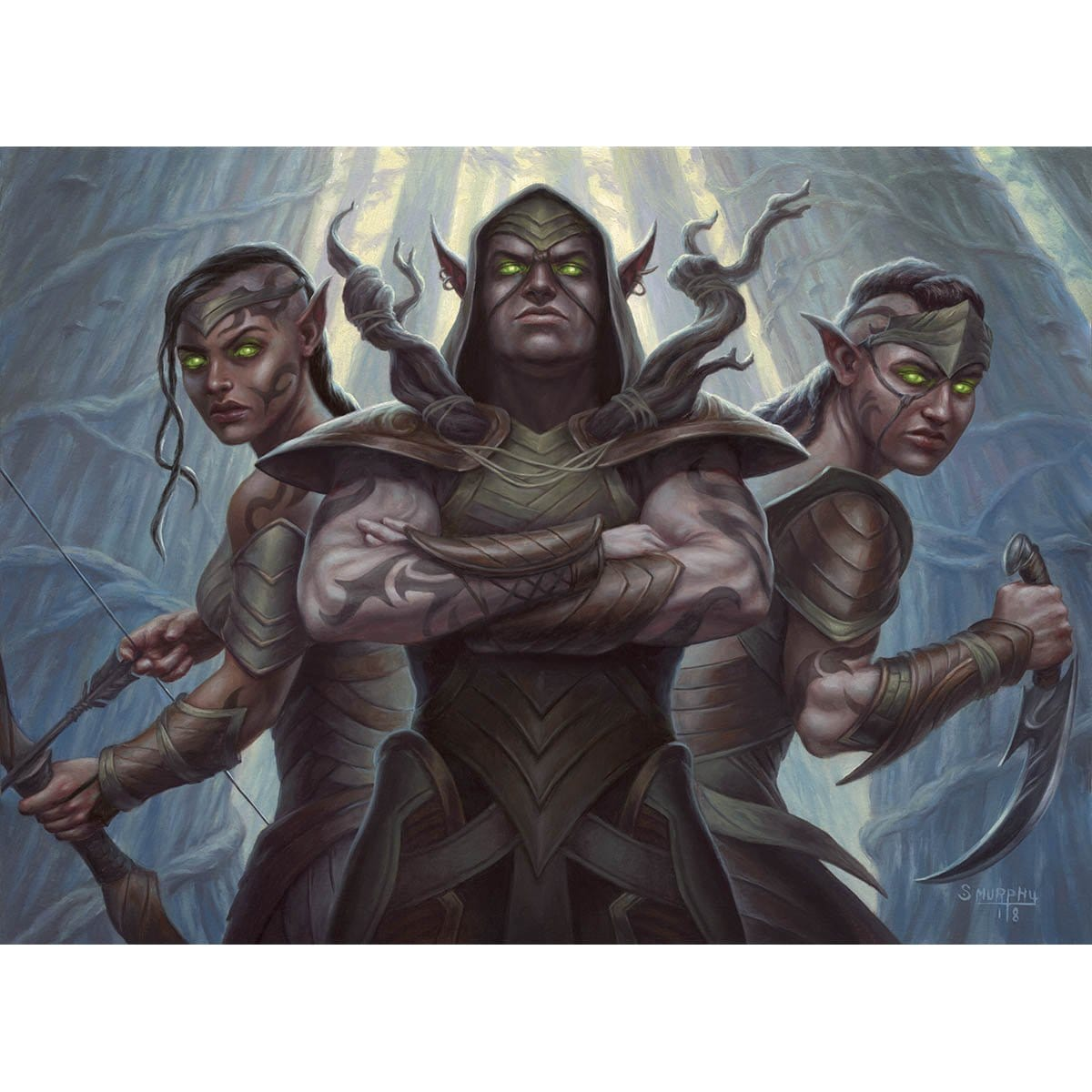 Llanowar Tribe Print - Print - Original Magic Art - Accessories for Magic the Gathering and other card games