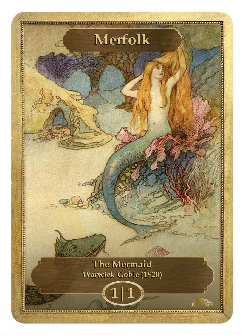 Merfolk Token (1/1) by Warwick Goble - Token - Original Magic Art - Accessories for Magic the Gathering and other card games