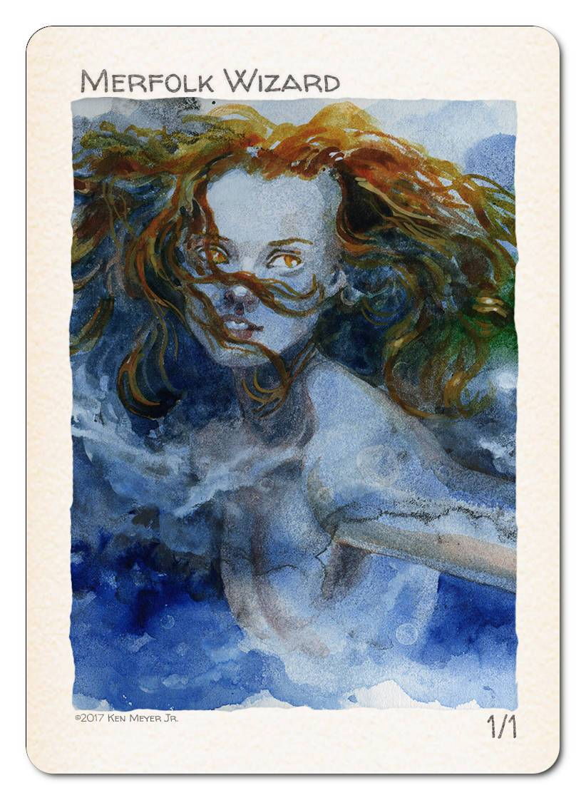 Merfolk Wizard Token (1/1) by Ken Meyer Jr. - Token - Original Magic Art - Accessories for Magic the Gathering and other card games