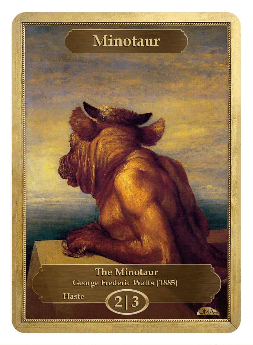 Minotaur Token (2/3) by George Frederic Watts - Token - Original Magic Art - Accessories for Magic the Gathering and other card games