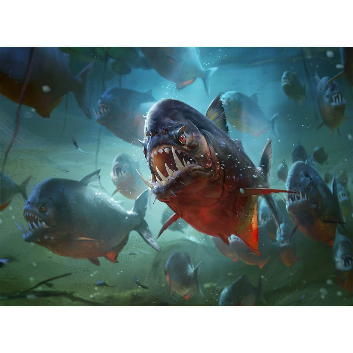 Moat Piranhas Print - Print - Original Magic Art - Accessories for Magic the Gathering and other card games