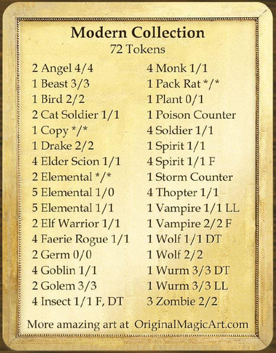 Modern Token Collection - Token Set - Original Magic Art - Accessories for Magic the Gathering and other card games