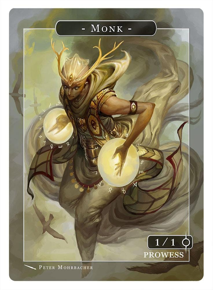 Monk Token (1/1 - Prowess) by Peter Mohrbacher