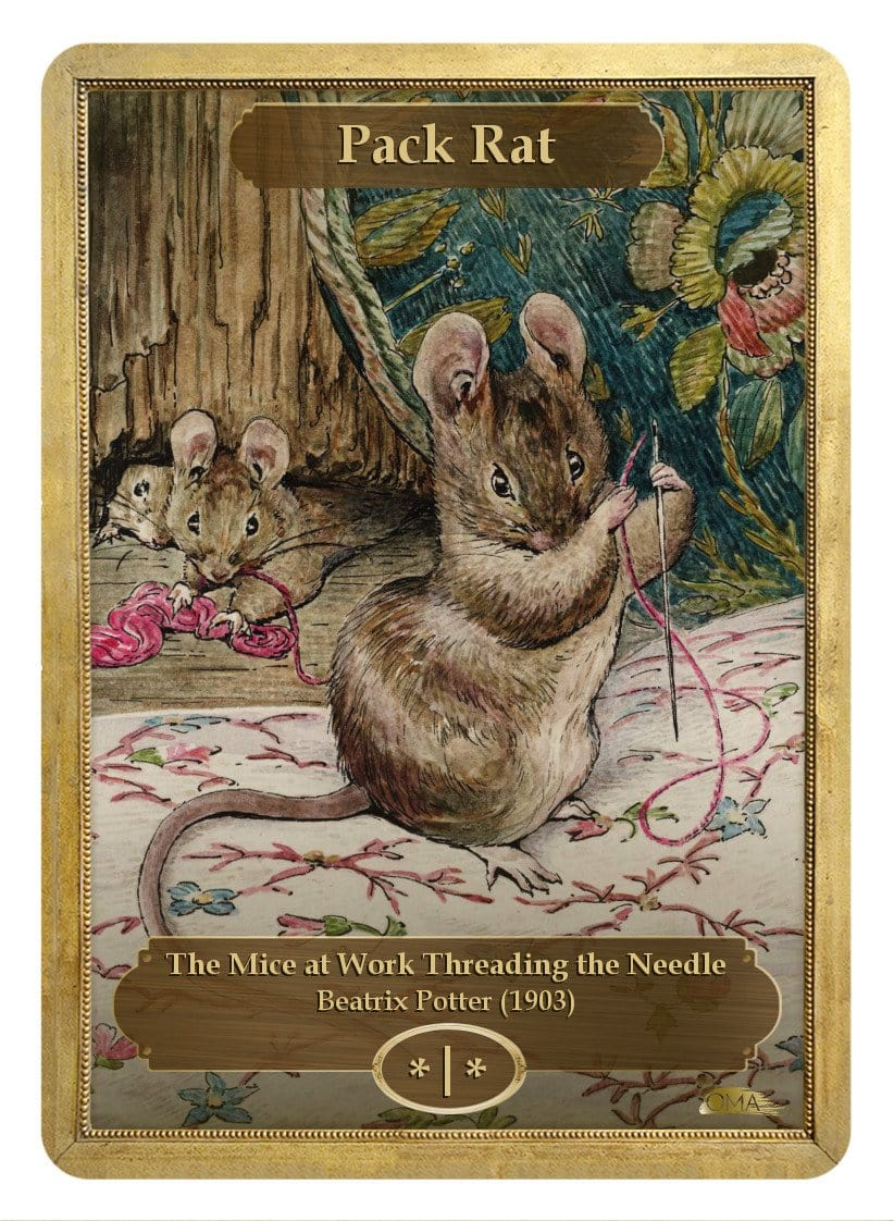 Pack Rat Token (*/*) by Beatrix Potter - Token - Original Magic Art - Accessories for Magic the Gathering and other card games