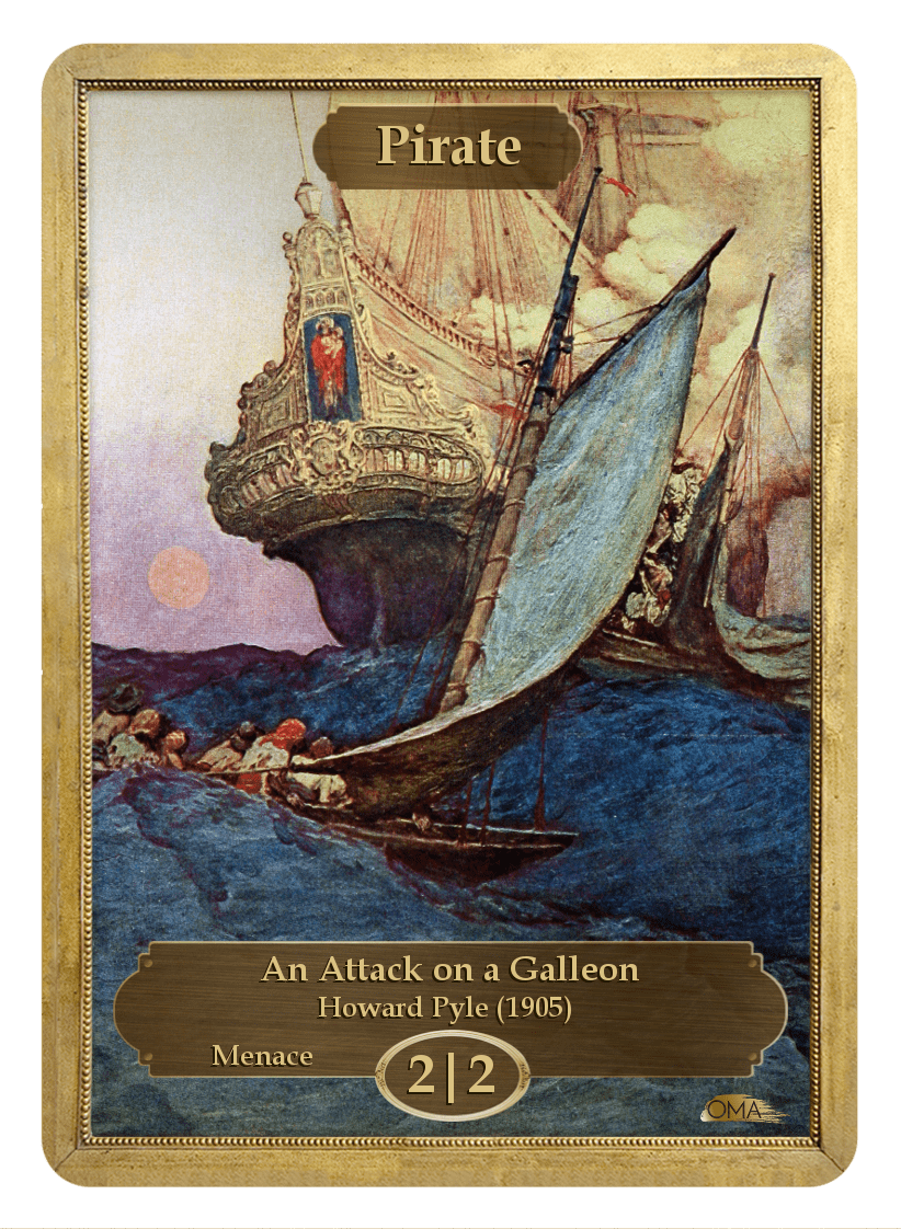 Pirate Token (2/2 - Menace) by Howard Pyle - Token - Original Magic Art - Accessories for Magic the Gathering and other card games
