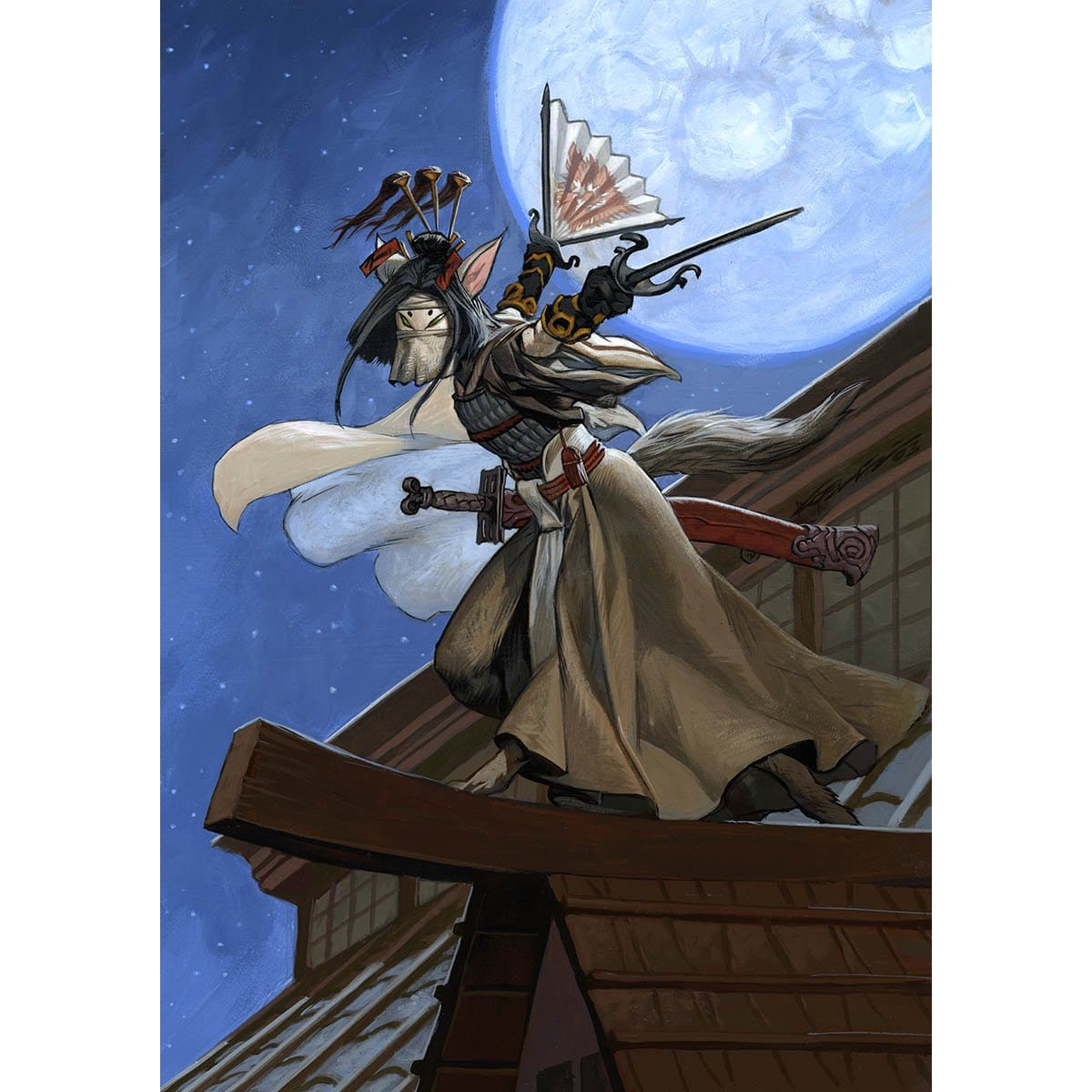 Samurai of the Pale Curtain Print - Print - Original Magic Art - Accessories for Magic the Gathering and other card games