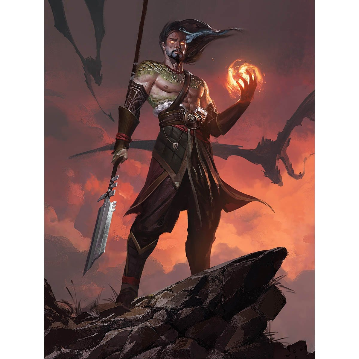 Sarkhan, Fireblood Print - Print - Original Magic Art - Accessories for Magic the Gathering and other card games