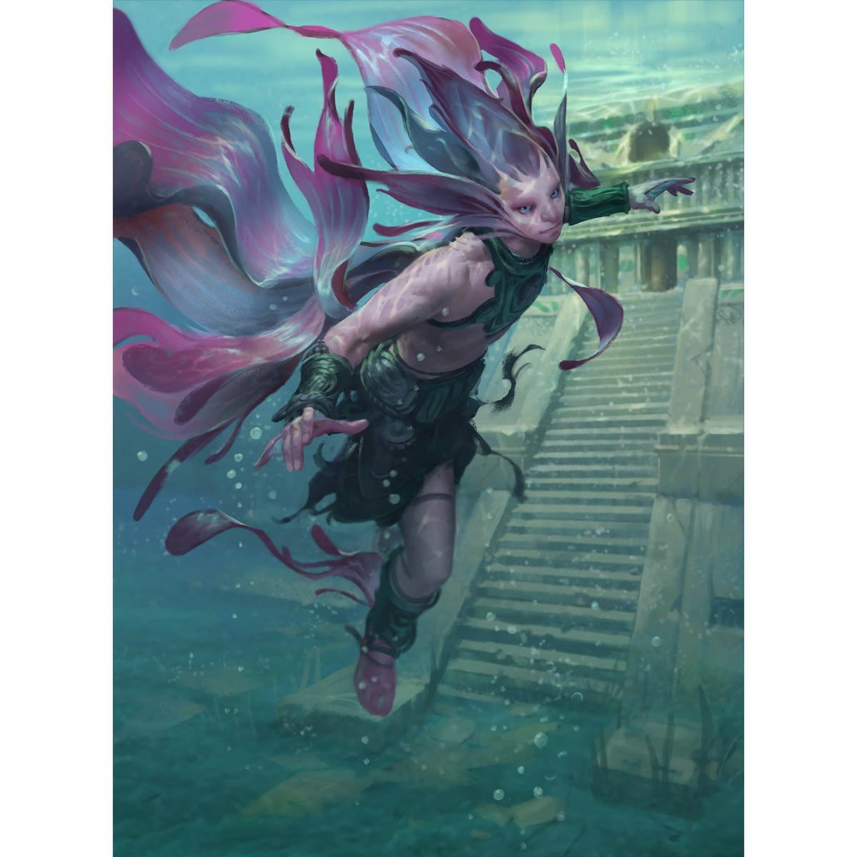 Silvergill Adept Print - Print - Original Magic Art - Accessories for Magic the Gathering and other card games