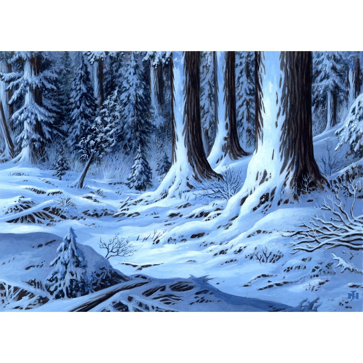 Snow-Covered Forest Print - Print - Original Magic Art - Accessories for Magic the Gathering and other card games
