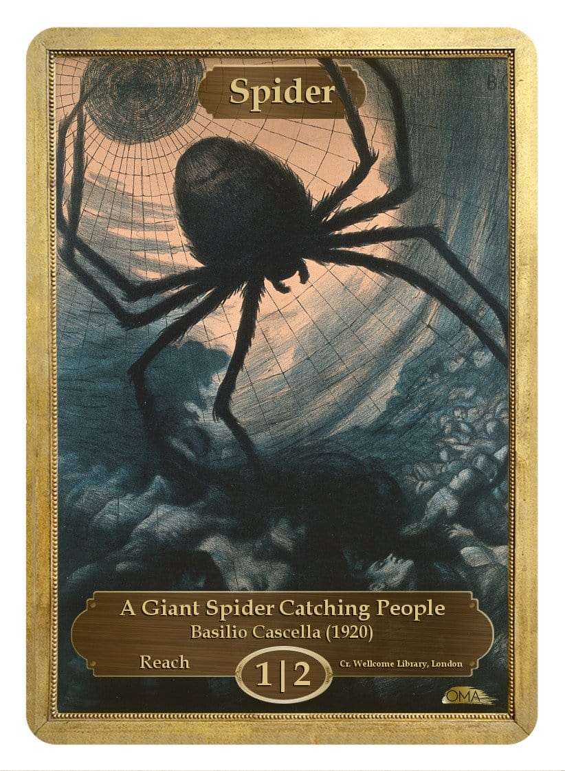 Spider Token (1/2) by Basilio Cascella - Token - Original Magic Art - Accessories for Magic the Gathering and other card games